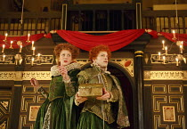THE KNIGHT OF THE BURNING PESTLE   by Francis Beaumont   design: Hannah Clark   director: Adele Thomas ~Hannah McPake (Mistress Merrythought), Giles Cooper (Michael)~Sam Wanamaker Playhouse / Shakespe...