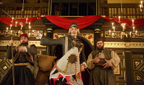 THE KNIGHT OF THE BURNING PESTLE   by Francis Beaumont   design: Hannah Clark   director: Adele Thomas ~l-r: Dennis Herdman (Tim), Matthew Needham (Rafe), Dean Nolan (George)~Sam Wanamaker Playhouse /...