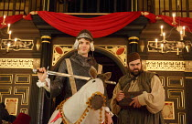 THE KNIGHT OF THE BURNING PESTLE   by Francis Beaumont   design: Hannah Clark   director: Adele Thomas ~l-r: Matthew Needham (Rafe), Dean Nolan (George)~Sam Wanamaker Playhouse / Shakespeare's Globe (...