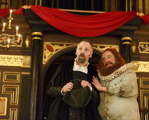 THE KNIGHT OF THE BURNING PESTLE   by Francis Beaumont   design: Hannah Clark   director: Adele Thomas ~l-r: John Dougall (Venturewell), Paul Rider (Old Merrythought)~Sam Wanamaker Playhouse / Shakesp...