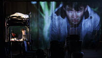 SPRING AWAKENING   by Frank Wedekind   in a new version by Anya Reiss   design: Colin Richmond   lighting: Malcolm Rippeth   director: Ben Kidd   l-r: Oliver Johnstone (Melchior Gabor), Bradley Hall...