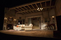BLITHE SPIRIT   by Noel Coward   design: Simon Higlett   lighting: Mark Jonathan   director: Michael Blakemore   stage,set,empty,interior,period,beams,fireplace,piano Gielgud Theatre, London W1   18...