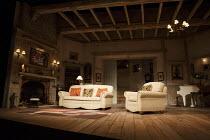 BLITHE SPIRIT   by Noel Coward   design: Simon Higlett   lighting: Mark Jonathan   director: Michael Blakemore ~stage,set,empty,interior,period,beams,fireplace,piano~Gielgud Theatre, London W1   18/03...