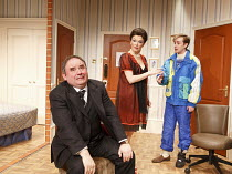 TWO INTO ONE   written & directed by Ray Cooney   design: Julie Godrey   lighting: Paul Anderson   l-r: Nick Wilton (George Pigden), Josefina Gabrielle (Pamela Willey), Tom Golding (Edward Bristow)...