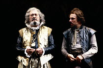 THE ROARING GIRL   by Thomas Middleton & Thomas Dekker   design: Chris Dyer   lighting: Leo Leibovici   director: Barry Kyle ~ ~l-r: David Waller (Sir Alexander Wengrave), Alun Armstrong (Trapdoor)~Ro...