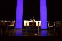 FATAL ATTRACTION   by James Dearden   design: Rob Jones   lighting: Paul Pyant   director: Trevor Nunn   stage,set,empty,interior,restaurant,American,USA Theatre Royal Haymarket (TRH), London SW1...