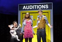 I CAN'T SING!   by Harry Hill & Steve Brown   set design: Es Devlin   costumes: Leah Archer   lighting: Jon Clark   choreography: Kate Prince   director: Sean Foley ~l-r: Simon Lipkin (Barlow the Dog)...