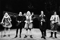 THE ROARING GIRL   by Thomas Middleton & Thomas Dekker   design: Chris Dyer   lighting: Leo Leibovici   director: Barry Kyle ~~l-r: Dennis Clinton (Sir Adam Appleton), Paul Webster (Sir Davy Dapper /...