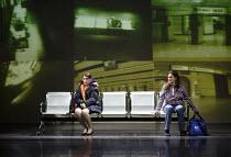 THROUGH HIS TEETH   music: Luke Bedford   libretto: David Harrower   conductor: Sian Edwards   design: Becs Andrews   lighting: Paul Knott   video design: Sam Meech   director: Bijan Sheibani   l-r:...
