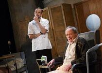 l-r: Steve John Shepherd (David), James Bolam (Jimmy) in BOMBER'S MOON by William Ivory at the Park Theatre, Finsbury Park, London N4  04/04/2014  design: Laura McEwan  lighting: James Farncombe  dir...