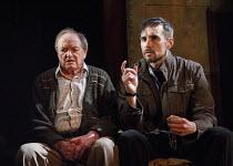 l-r: James Bolam (Jimmy), Steve John Shepherd (David) in BOMBER'S MOON by William Ivory at the Park Theatre, Finsbury Park, London N4  04/04/2014  design: Laura McEwan  lighting: James Farncombe  dir...