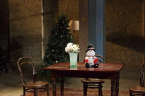 THREE SISTERS   by Chekhov   in a new version by Anya Reiss   design: Anthony Lamble   lighting: Howard Hudson   director: Russell Bolam ~set,empty,snowman,toy~Southwark Playhouse, London SE1   08/04/...