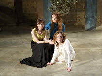 THREE SISTERS   by Chekhov   in a new version by Anya Reiss   design: Anthony Lamble   lighting: Howard Hudson   director: Russell Bolam ~l-r: Emily Taaffe (Masha), (rear) Olivia Hallinan (Olga), Holl...