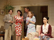 A SMALL FAMILY BUSINESS   by  Alan Ayckbourn   design: Tim Hatley   lighting: Paul Anderson   director: Adam Penford ~l-r: Gerard Monaco (Rivetti), Nicky Wardley (Anita McCracken), Stephen Beckett (Cl...