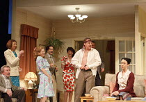 A SMALL FAMILY BUSINESS   by  Alan Ayckbourn   design: Tim Hatley   lighting: Paul Anderson   director: Adam Penford ~l-r: Gawn Grainger (Ken Ayres), Amanda Hadingue (Yvonne Doggett), Debra Gillett (P...