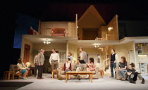 A SMALL FAMILY BUSINESS   by  Alan Ayckbourn   design: Tim Hatley   lighting: Paul Anderson   director: Adam Penford ~l-r: Amanda Hadingue (Yvonne Doggett), Gawn Grainger (Ken Ayres), Nigel Lindsay (J...