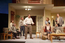 A SMALL FAMILY BUSINESS   by  Alan Ayckbourn   design: Tim Hatley   lighting: Paul Anderson   director: Adam Penford ~l-r: Gawn Grainger (Ken Ayres), Amanda Hadingue (Yvonne Doggett), Neal Barry (Desm...