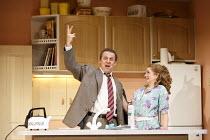 A SMALL FAMILY BUSINESS   by  Alan Ayckbourn   design: Tim Hatley   lighting: Paul Anderson   director: Adam Penford   Nigel Lindsay (Jack McCracken), Debra Gillett (Poppy McCracken)  Olivier Theatr...