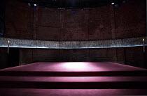 KING CHARLES III   by Mike Bartlett   design: Tom Scutt   lighting: Jon Clark   director: Rupert Goold   stage,set,empty,mural,candles,platform,dias Almeida Theatre, London N1   10/04/2014