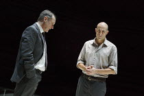 A VIEW FROM THE BRIDGE   by Arthur Miller   set & lighting design: Jan Versweyveld   costumes: An D'Huys   director: Ivo Van Hove ~l-r: Michael Gould (Alfieri), Mark Strong (Eddie Carbone)   ~The Youn...