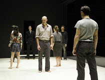 A VIEW FROM THE BRIDGE   by Arthur Miller   set & lighting design: Jan Versweyveld   costumes: An D'Huys   director: Ivo Van Hove ~centre: Mark Strong (Eddie Carbone)~The Young Vic (YV), London SE1...