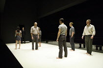 A VIEW FROM THE BRIDGE   by Arthur Miller   set & lighting design: Jan Versweyveld   costumes: An D'Huys   director: Ivo Van Hove ~centre: Mark Strong (Eddie Carbone)   right: Michael Gould (Alfieri)~...