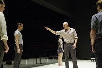 A VIEW FROM THE BRIDGE   by Arthur Miller   set & lighting design: Jan Versweyveld   costumes: An D'Huys   director: Ivo Van Hove ~centre: Phoebe Fox (Catherine), Mark Strong (Eddie Carbone)~The Young...