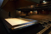 A VIEW FROM THE BRIDGE   by Arthur Miller   set & lighting design: Jan Versweyveld   costumes: An D'Huys   director: Ivo Van Hove ~stage,set,empty,thrust,seats,auditorium~The Young Vic (YV), London SE...
