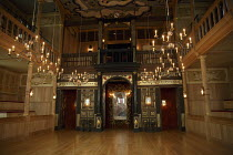 THE MALCONTENT   by John Marston   director: Caitlin McLeod  ~stage,set,auditorium,empty,candeles,chandelier,seats,gallery,interior~The Globe Young Players / Sam Wanamaker Playhouse / Shakespeare's Gl...