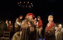 HENRY IV part i   by Shakespeare   design: Stephen Brimson Lewis   lighting: Tim Mitchell   director: Gregory Doran ~Tavern scene - centre: Antony Sher (Sir John Falstaff)   right: Paola Dionisotti (M...