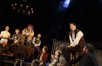 HENRY IV part i   by Shakespeare   design: Stephen Brimson Lewis   lighting: Tim Mitchell   director: Gregory Doran ~Tavern scene - left, on chair: : Antony Sher (Sir John Falstaff)   right:Alex Hasse...