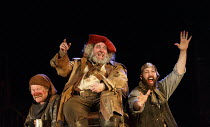 HENRY IV part i   by Shakespeare   design: Stephen Brimson Lewis   lighting: Tim Mitchell   director: Gregory Doran ~Tavern scene - l-r: Joshua Richards (Bardolph), Antony Sher (Sir John Falstaff), Yo...