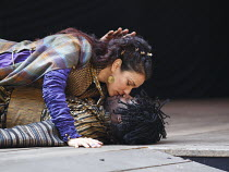 TITUS ANDRONICUS   by Shakespeare   design: William Dudley   director / Master of Play': Lucy Bailey ~Indira Varma (Tamora), Obi Abili (Aaron) ~Shakespeare's Globe, London SE1   01/05/2014
