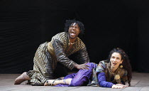 TITUS ANDRONICUS   by Shakespeare   design: William Dudley   director / Master of Play': Lucy Bailey ~Obi Abili (Aaron), Indira Varma (Tamora)  ~Shakespeare's Globe, London SE1   01/05/2014