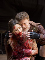 TITUS ANDRONICUS   by Shakespeare   design: William Dudley   director / Master of Play': Lucy Bailey   Flora Spencer-Longhurst (Lavinia), William Houston (Titus Andronicus)  Shakespeare's Globe, Lon...