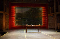 ARDEN OF FAVERSHAM   by Anonymous   design: Merle Hensel   lighting: Lee Curran   director: Polly Findlay ~stage,set,empty,screen,painting~Royal Shakespeare Company (RSC) / Swan Theatre, Stratford-upo...
