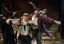 WAITING FOR GODOT   by Beckett   set design: Patrick Kinmonth   costumes: Annina von Pfuel   lighting: Peter Lundin   director: Simon Dormandy ~l-r: Jonathan Oliver (Pozzo), Michael Roberts (Lucky), T...