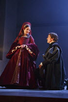 Lydia Leonard (Anne Boleyn), Ben Miles (Thomas Cromwell) in BRING UP THE BODIES by Hilary Mantel at the Royal Shakespeare Company (RSC), Aldwych Theatre, London WC2  17/05/2014  adapted for the stage...
