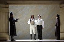 about to duel - l-r: Edgaras Montvidas (Lensky), Andrei Bondarenko (Eugene Onegin in EUGENE ONEGIN at Glyndebourne Festival Opera, East Sussex, England   18/05/2014  music: Tchaikovsky  libretto: aft...