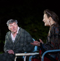 ALL MY SONS   by Arthur Miller   design: Lizzie Clachan   lighting: Guy Hoare   director: Timothy Sheader   Tom Mannion (Joe Keller), Brid Brennan (Kate Keller)  Open Air Theatre (OAT) / Regent's P...