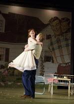 ALL MY SONS   by Arthur Miller   design: Lizzie Clachan   lighting: Guy Hoare   director: Timothy Sheader ~~Amy Nuttall (Ann Deever), Charles Aitken (Chris Keller)~Open Air Theatre (OAT) / Regent's Pa...