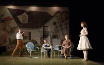 ALL MY SONS   by Arthur Miller   design: Lizzie Clachan   lighting: Guy Hoare   director: Timothy Sheader   l-r: Tom Mannion (Joe Keller), Charles Aitken (Chris Keller), Brid Brennan (Kate Keller),...