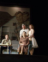 ALL MY SONS   by Arthur Miller   design: Lizzie Clachan   lighting: Guy Hoare   director: Timothy Sheader   l-r: Charles Aitken (Chris Keller), Tom Mannion (Joe Keller), Brid Brennan (Kate Keller),...