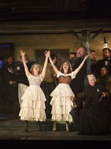 PETER GRIMES   by Benjamin Britten   conductor: Stephen Barlow   design: Francis O'Connor   director: Jeremy Sams   l-r: Soraya Mafi (First Niece), Rosie Bell (Second Niece), Rebecca de Pont Davies (...