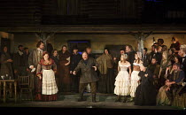 PETER GRIMES   by Benjamin Britten   conductor: Stephen Barlow   design: Francis O'Connor   director: Jeremy Sams   front, l-r: Gary Griffiths (Ned Keene), Anne-Marie Owens (Auntie), Carl Tanner (Pet...