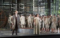 FIDELIO   by Beethoven   conductor: Douglas Boyd   design: Gary McCann   lighting: Howard Hudson   director: John Cox   front left: Rebecca von Lipinski (Leonore / Fidelio)   centre: Jennifer France...