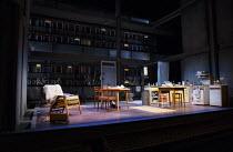 SKYLIGHT   by David Hare   design: Bob Crowley   lighting: Natasha Katz   director: Stephen Daldry ~~stage,set,empty,full.kitchen,interior~Wyndham's Theatre, London WC2   press night: 18/06/2014