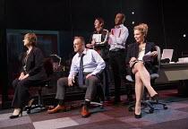 GREAT BRITAIN   by Richard Bean   design: Tim Hatley   lighting: Neil Austin   director: Nicholas Hytner ~far right: Billie Piper (Paige Britain) ~Lyttelton Theatre / National Theatre (NT), London SE1...