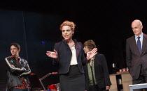 GREAT BRITAIN   by Richard Bean   design: Tim Hatley   lighting: Neil Austin   director: Nicholas Hytner ~centre: Billie Piper (Paige Britain) ~Lyttelton Theatre / National Theatre (NT), London SE1...