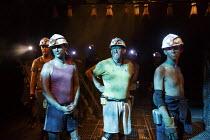 WONDERLAND   by Beth Steel   design: Ashley Martin Davis   lighting: Peter Mumford   director: Edward Hall   front 3, l-r: Paul Rattray (Fanny), Nigel Betts (Bobbo) and David Moorst (Malcom) Hampste...